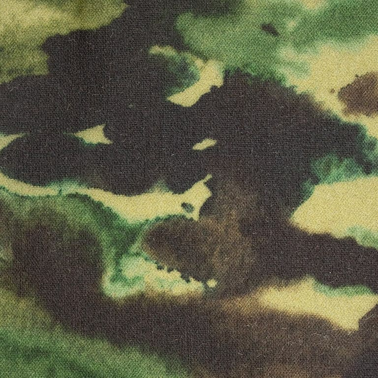 P140 Alchemy Paint Splash Print Olive waxed cotton textile for waxed jackets, apparel and accessories